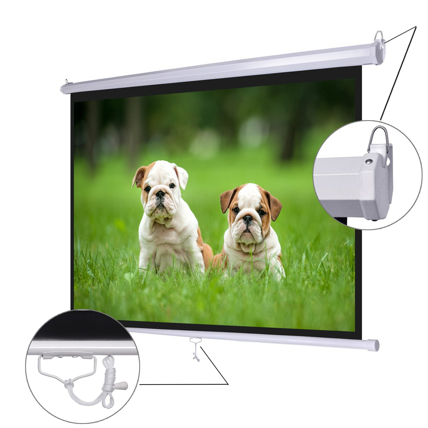 Koval Inc. 72'' Diagonal 4:3 Manual Pull Down Wall Mount Matte Projector Screen (72'' 4:3) by KOVAL INC.