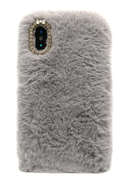 new concept 63a68 82fde 3C Collection Furry Case iPhone Xs Max Grey, Women Winter Fashion Faux  Bunny Fur Fluffy Case iPhone Xs Max 5.8inch Soft Hairy Fuzzy Cover Case  Girls