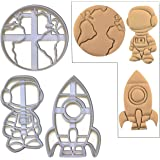 SET of 3 Space theme cookie cutters (Astronaut, Earth and Rocket cookie cutters), Ideal for Space themed party