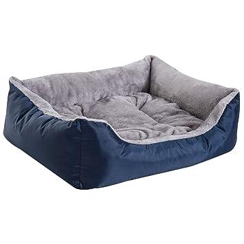 PawHut Cama para Perro Gato Lavable Almohada Felpa Extraíble Reversible Nido Mascota Cómoda Casa 75x60x20cm Tela