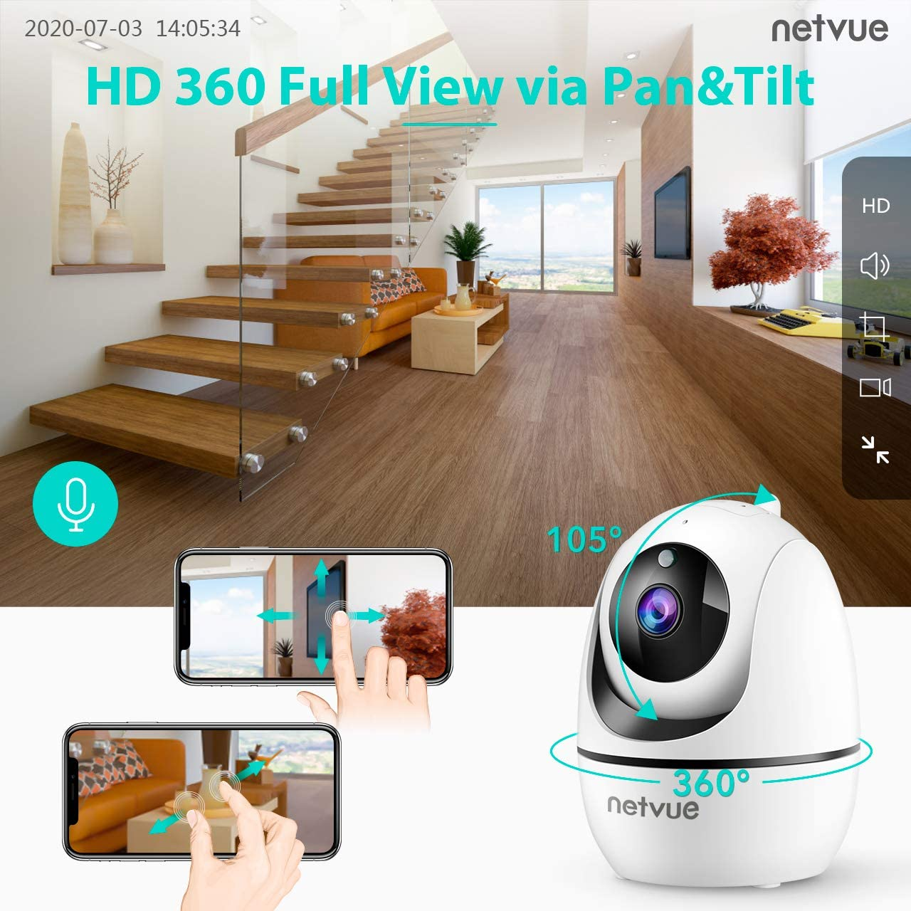 Dog Camera, Netvue 1080P FHD 2.4GHz WiFi Pet Camera , Indoor Security Camera for Pet/Baby/Nanny, AI Human Detection, Night Vision, Cloud Storage/TF Card, 2-Way Audio Compatible with Alexa