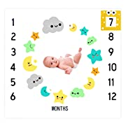 Baby Monthly Milestone Blanket Backdrop Photo Prop for Newborn Baby Boy or Girl| Baby Milestone Blanket | Baby Growth Blanket | Baby Shower Gift for New Mom| Soft and Wrinkle Free| Frame Included.