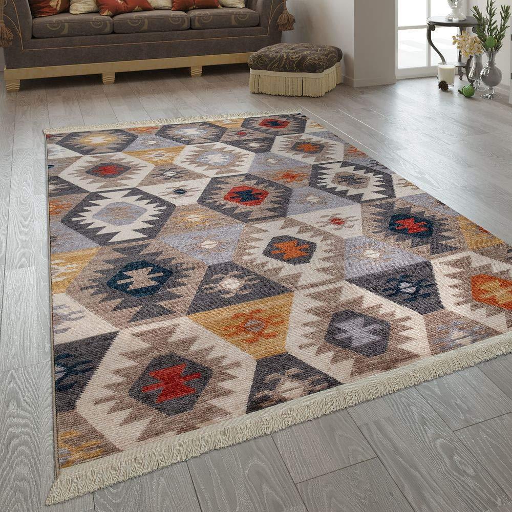 Paco Home Fransen Teppich Wohnzimmer Ethno Design Boho Karo Rautenmuster Mehrfarbig, Grösse:160x230 cm