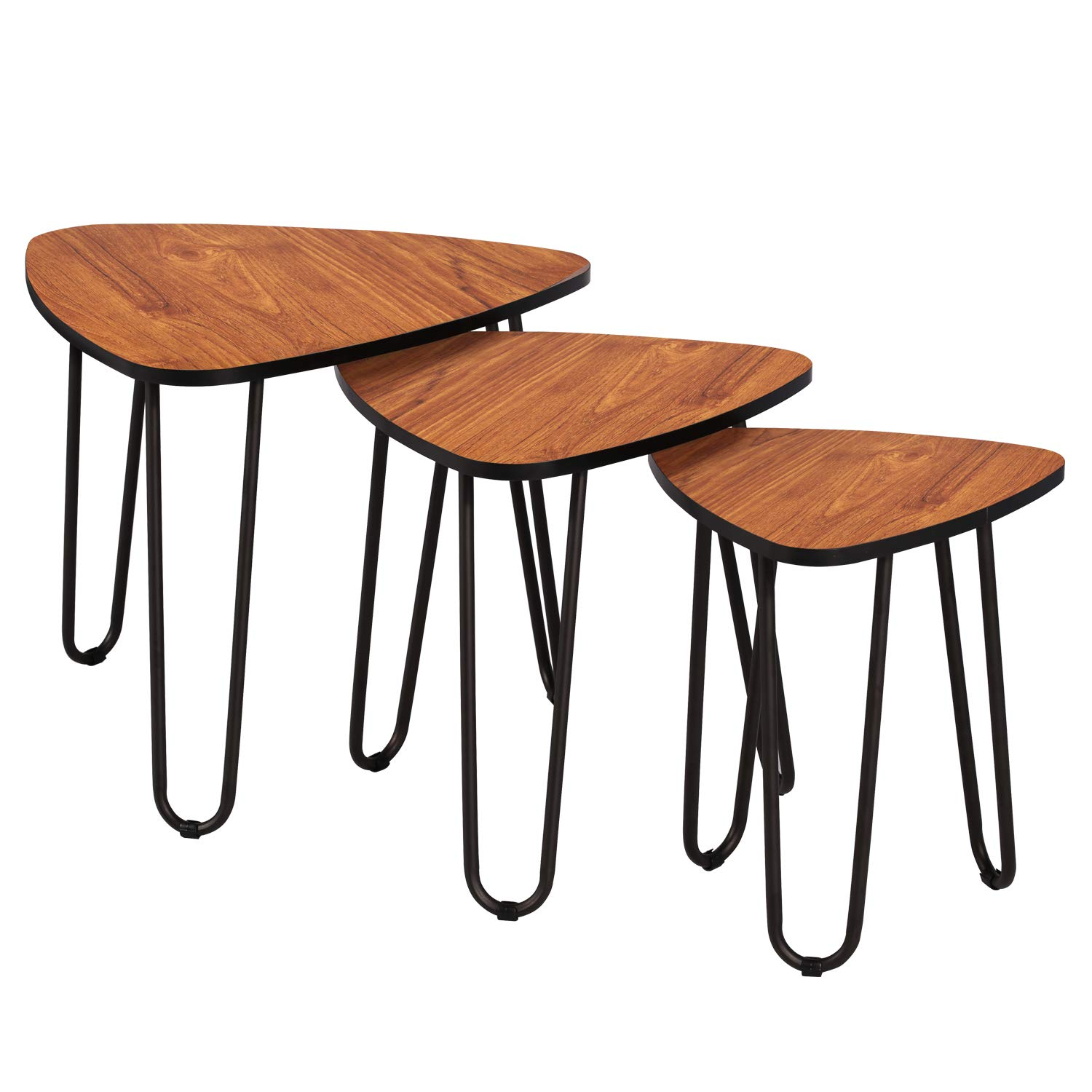 VECELO 3-Piece Nesting Side Coffee Table, Stacking End Tables for Living Room, Brown by VECELO