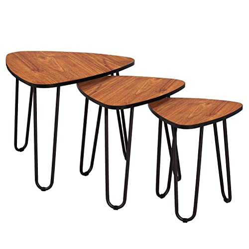 VECELO 3-Piece Nesting Side Coffee Table, Stacking End Tables for Living Room, Brown