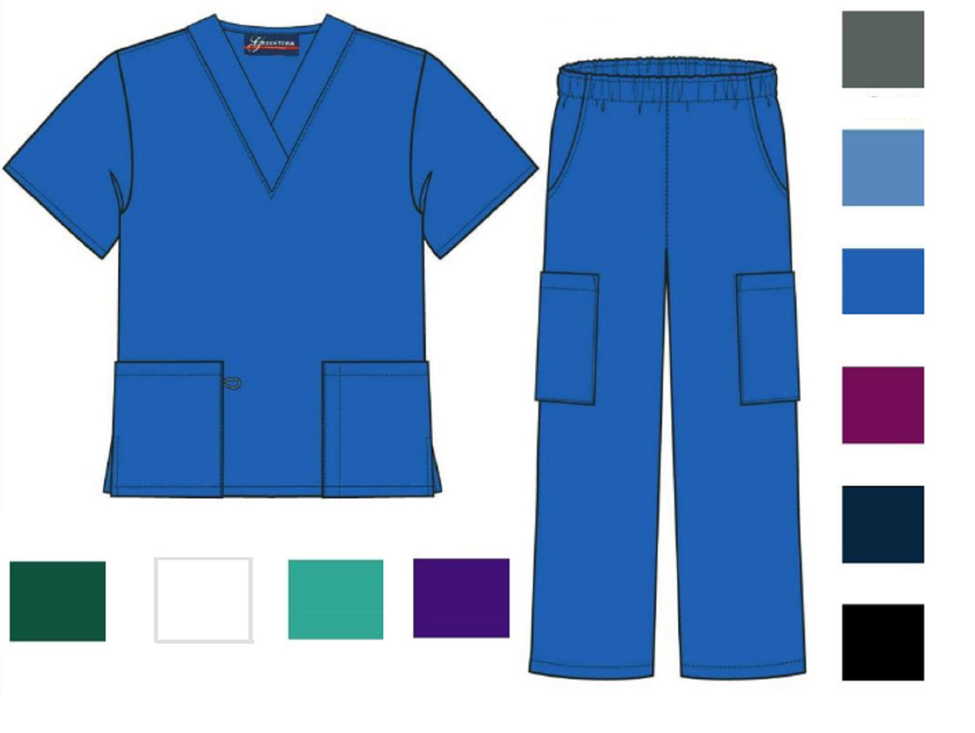 Scrub Lot Wholesale Medical Sets Top Pant Solid Bulk Qty 12 Medical Nursing Hospital (M (12 Sets), Navy)