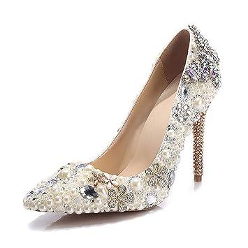 04a2b0ecf03e0 Amazon.com: CJJC Fashion Colorful Diamond Pearl Wedding Shoes for ...