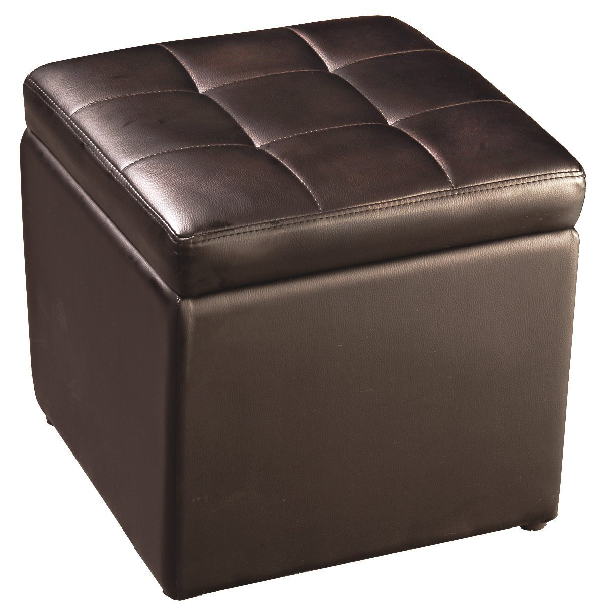 FDS Faux Leather Folding Ottoman Pouffe Storage Single Seat Toy Box Foot Stool (2 colours) (Brown) FDS-123