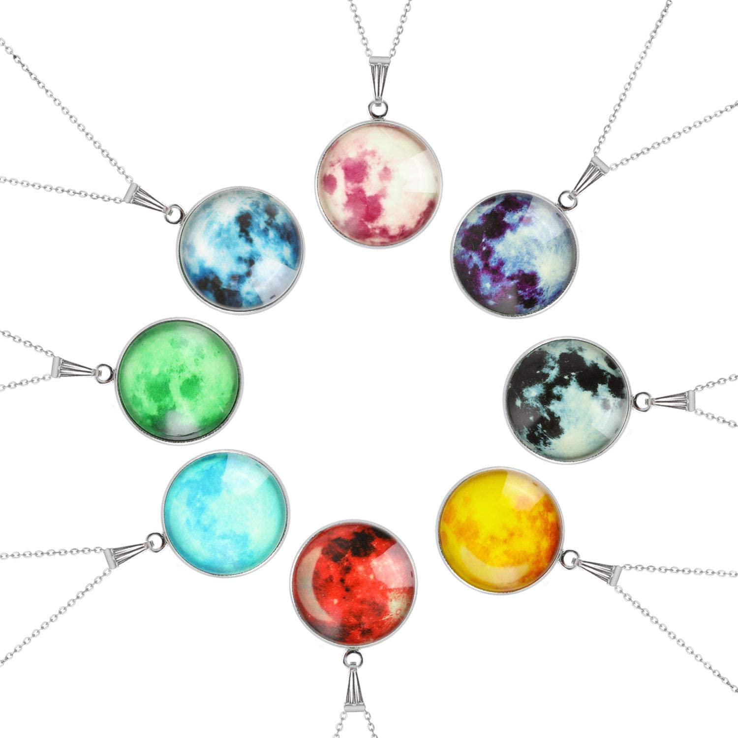 Party Favors Supplies Goody Bag Fillers Glowing Necklace for Kids 8pcs HIFOT Moon Pendant Necklace Girl Boy Galaxy Necklace