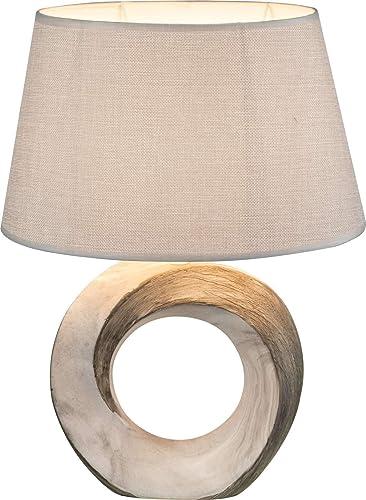 Lámpara de noche con pantalla de tela gris (lámpara de mesa ...
