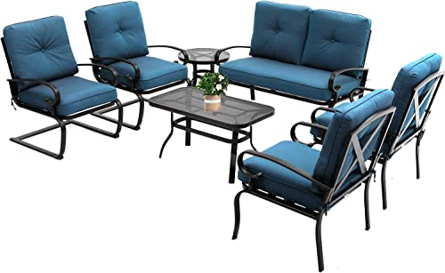 Oakmont 7Pcs Outdoor Metal Furniture Sets Patio Conversation Set Loveseat
