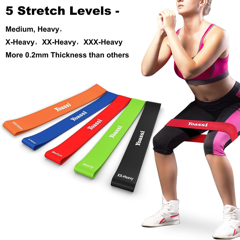 Yoassi Fitnessband Set 4-St/ärken Widerstandsb/änder-Stretchband Fitness Gymnastik Gummib/änder f/ür Muskel/übungen//Sport//Yoga//Dehnen /…