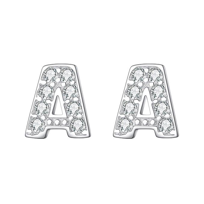 Ever Faith Mujer Plata de ley 925 Pendientes Clavo Zirconia Serie de alfabeto Letra