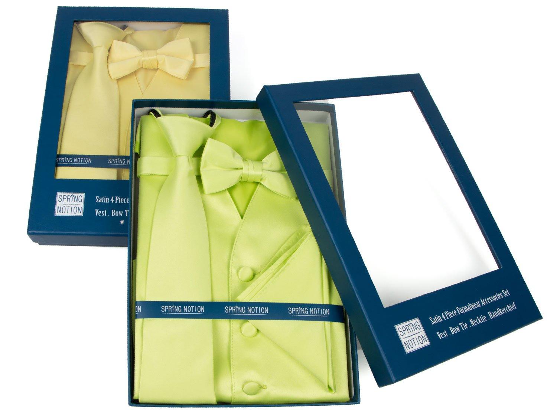 Spring Notion Boys' 4-Piece Satin Tuxedo Vest Set 14 Yellow by Spring Notion (Image #4)