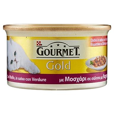 Gourmet Gold Dados de Becerro de Salsa con Verduras – Comida para Gatos – 85 gr