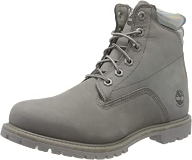 New Womens Timberland Grey Waterville 6` Nubuck Boots Ankle Lace Up