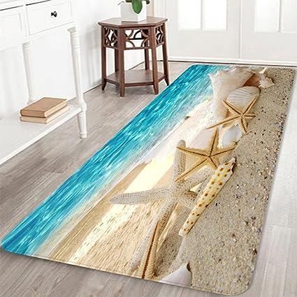 2u0027 X 6u0027 Flannel Starfish SeaShell Wood Bathroom Carpets Rugs Bath Mat Bath  Rugs