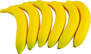 SAMYO Artificial Yellow Bananas Lifelike Simulation Fake Fruit Home House Kitchen Decoration 6pcs Set