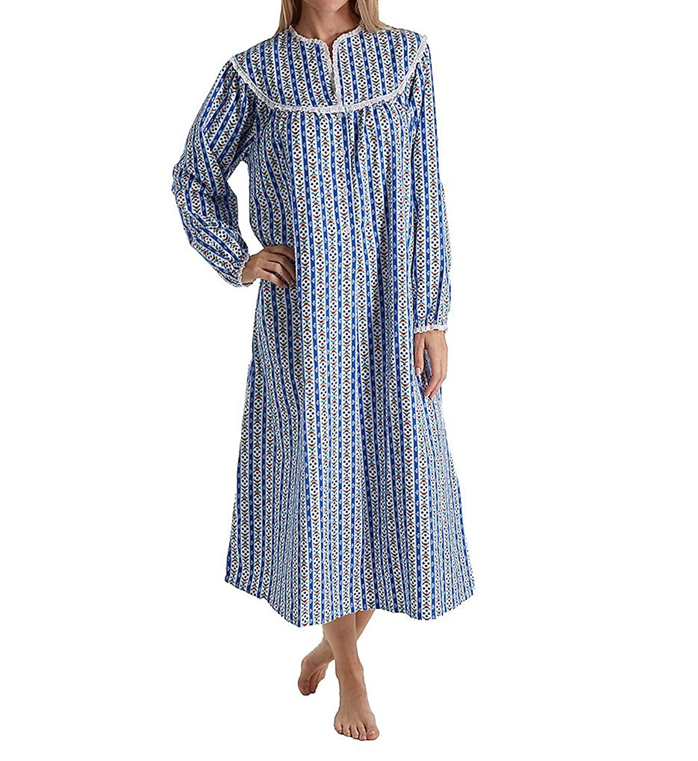 Lanz Of Salzburg Women\'s Classic Flannel Tyrolean Gown, White/Purple ...