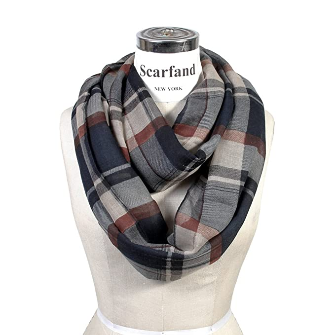 Scarfand's Plaid & Tartan Infinity Scarf (Plaid Navy)