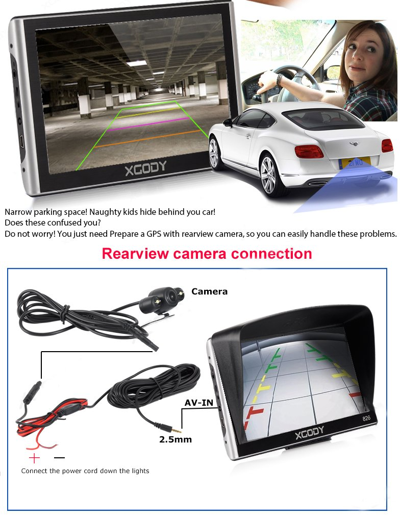 Xgody 826BT Car GPS Navigation with 6 Meters Backup Camera 7'' 256MB/8GB Sunshade Capacitive Touch Screen Trucking GPS NAV Lifetime Map Updates Speed Limit Displays Spoken Turn-by-Turn Directions by XGODY (Image #2)