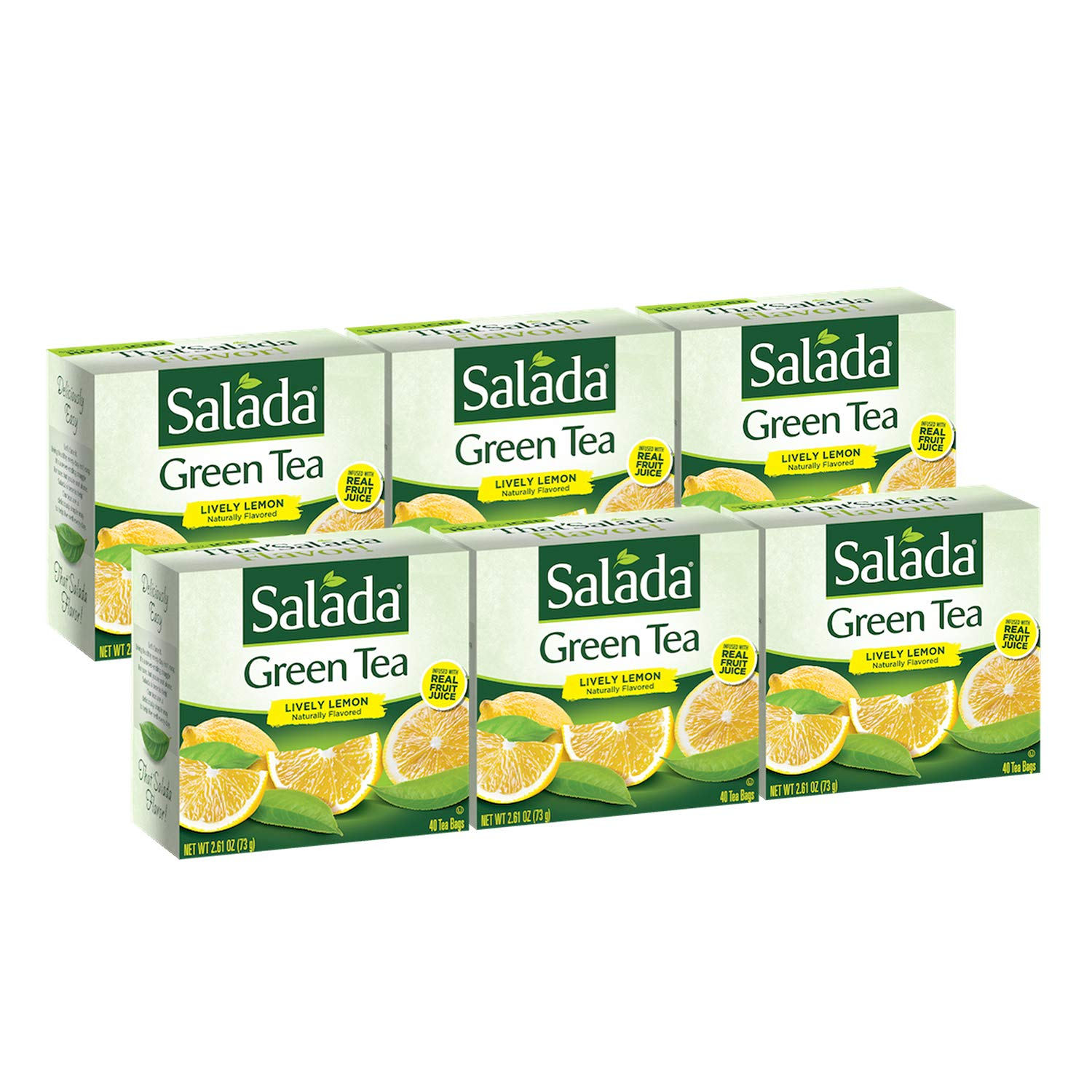 Salada Lively Lemon Green Tea, 240 Individually Wrapped Tea Bags (Pack of 6)