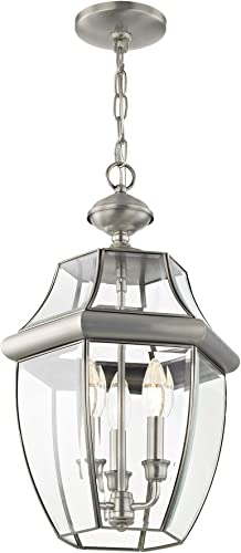 Livex Lighting 2355-91 Monterey 3 Light Outdoor Brushed Nickel Finish Solid Brass Hanging Lantern with Clear Beveled Glass