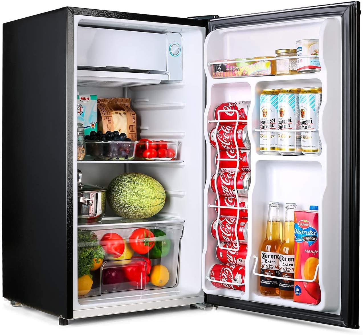 TACKLIFE Compact Refrigerator, 3.2 Cu Ft Mini Fridge with Freezer, Energy Star Rating, Low noise, for Bedroom Office or Dorm with Adjustable Temperature, Removable Glass Shelves- MPBFR321: Appliances