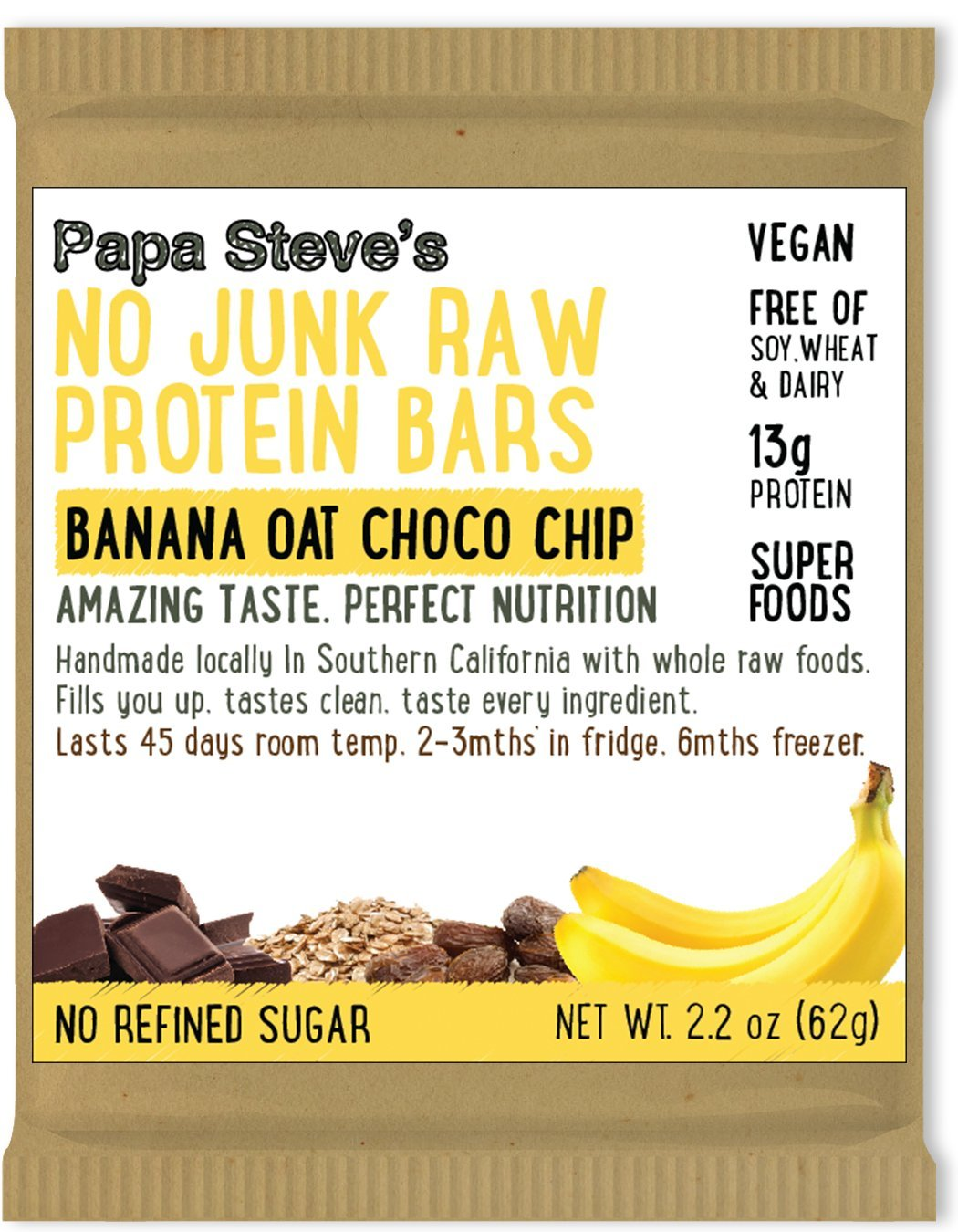 Papa Steve s No Junk Raw Protein Bars, Banana Oat Dark Chocolate, 2.2 Oz, 10 Count