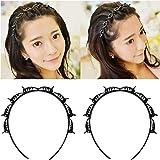 YEENIM Double Bangs Hairstyle Hairpin Headband 2Pcs Korean Braided Headband for Women Double Layer Twist Plait Multi-Layer Ho