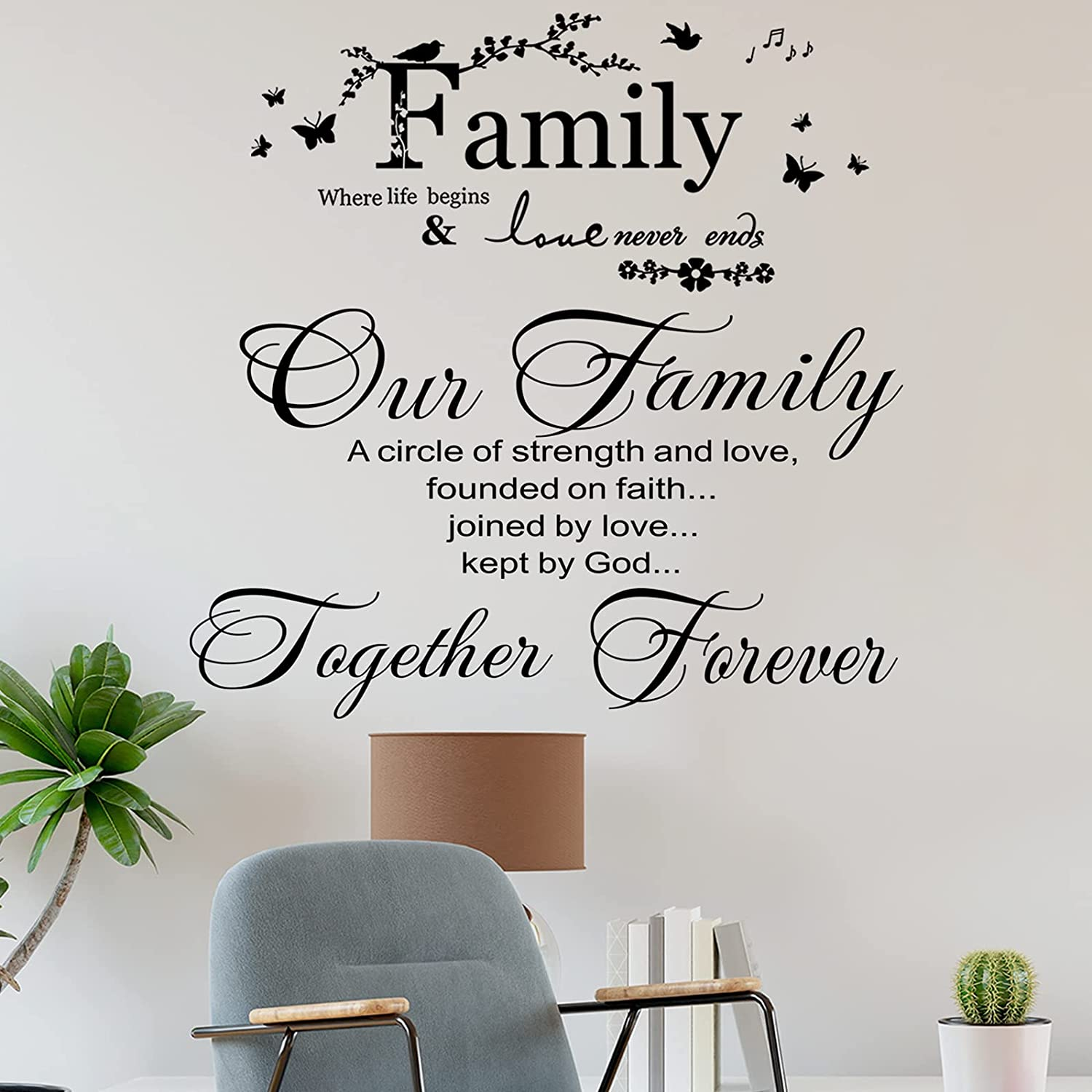 2 Pieces Vinyl Home Decor Wall Sticker Family Letter Quote ?Our Family is A Circle of Strength and Love Founded On Faith Joined in Love Kept by God Home Decor for Living Room Bedroom