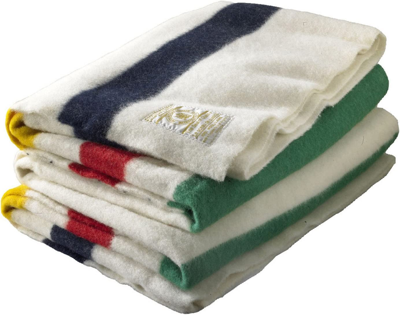 B000T2Q49A Hudson Bay 8 Point Blanket Natural with Multi Stripes 71NcBO9K5eL