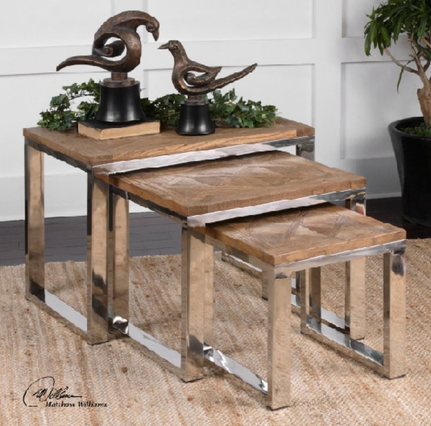 Set of 3 Eco-Friendly Natural Distressed Fir w/ Stainless Steel Decorative Nesting Tables 28''