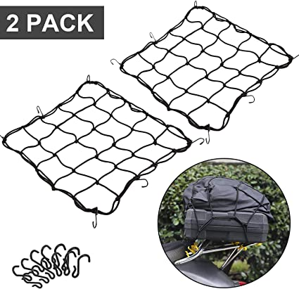 for Motorcycle Bike Paddleboard Quad Canoe Moped ATV CZC AUTO 15x15 Black Latex Bungee Cargo Net Strech to 30x30 Gear Helmet Luggage Netting with 2X2 Small Mesh and 6 Adjustable Plastic Hooks