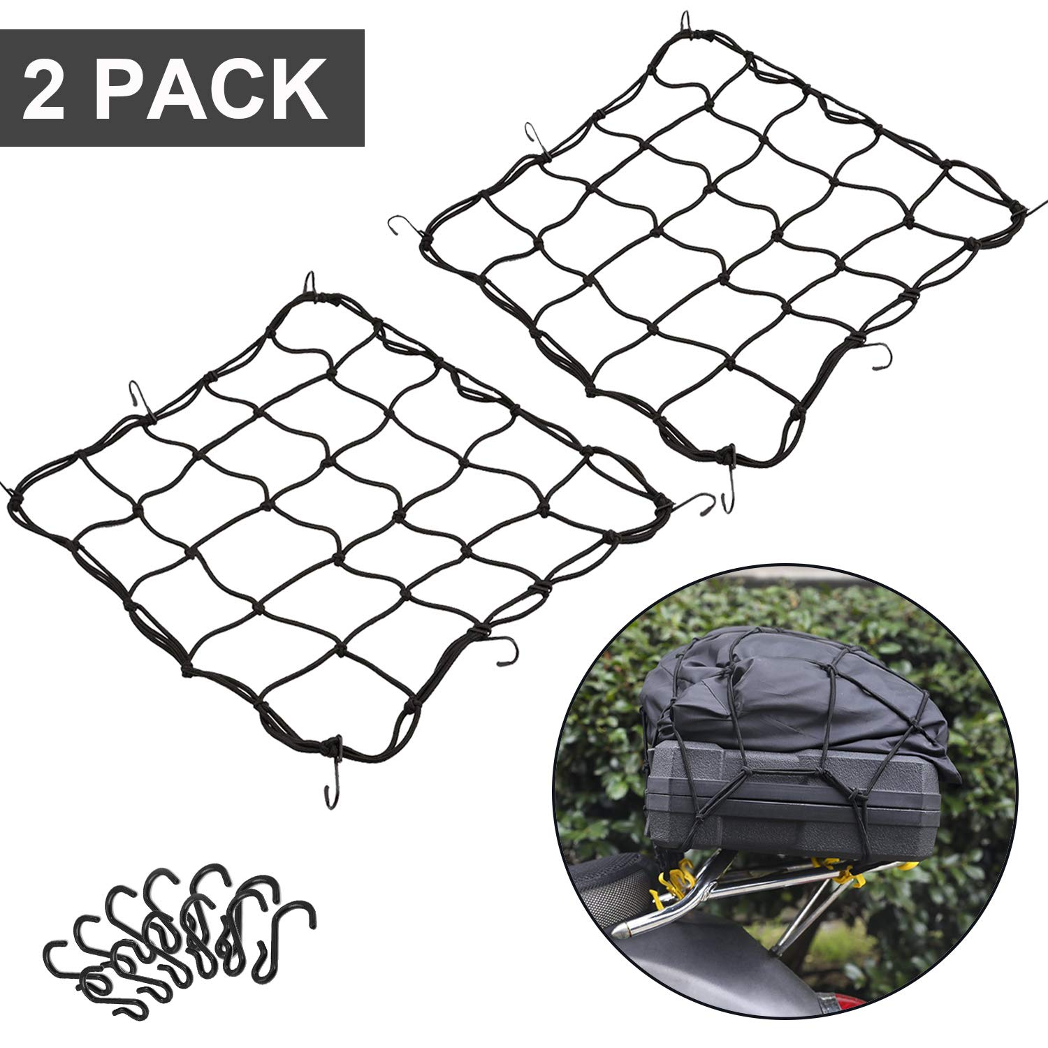 2 Pack of 15.7x15.7 Bungee Cargo Net Stretches to 30x30 Elastic Motorcycle Luggage Bungee Netting with 12 Metal Hooks Stretchable Bungee Cord Mesh Load Net Bike Paddle board Quad Canoe Moped ATV