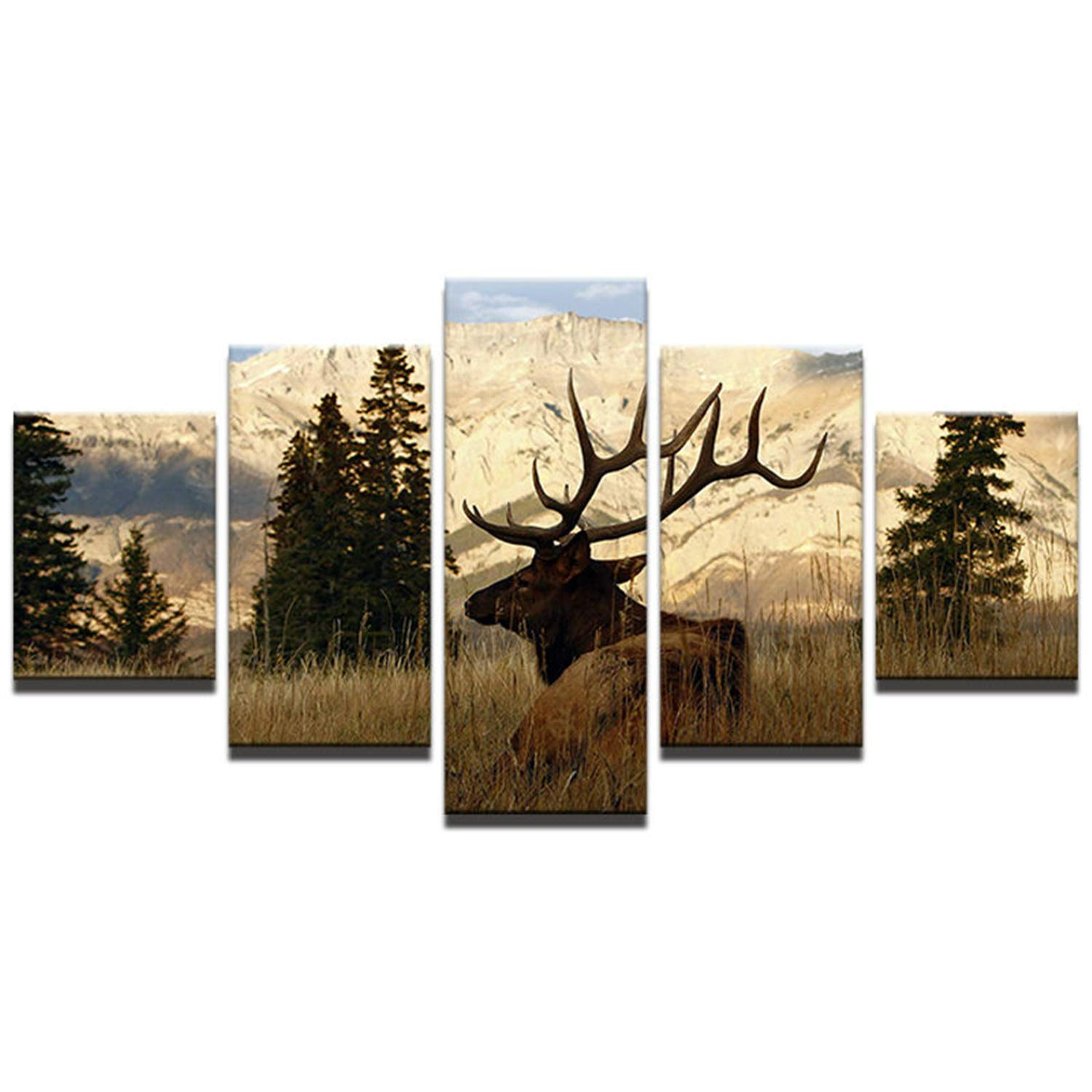 JESC Wall Art Printed Canvas Home Decor Living Room 5 Pieces Sunshine Mountain Trees Animal Deer Landscape Posters Painting Frame