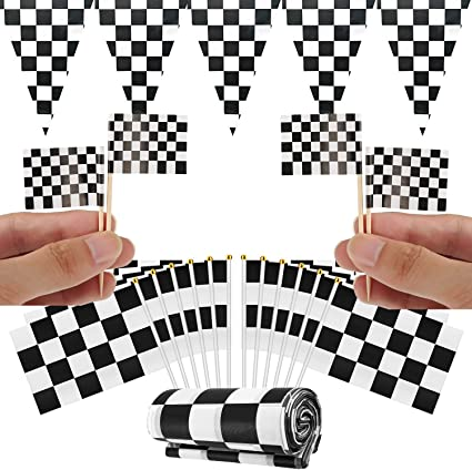 Amazon Com Racing Flags Set 100pcs Toothpick Flag 20pcs Checkered Flags For Racing Tablecloth Banner For Race Car Party Sport Events Cupcake Picks Cake Toppers Decorations Toys Games