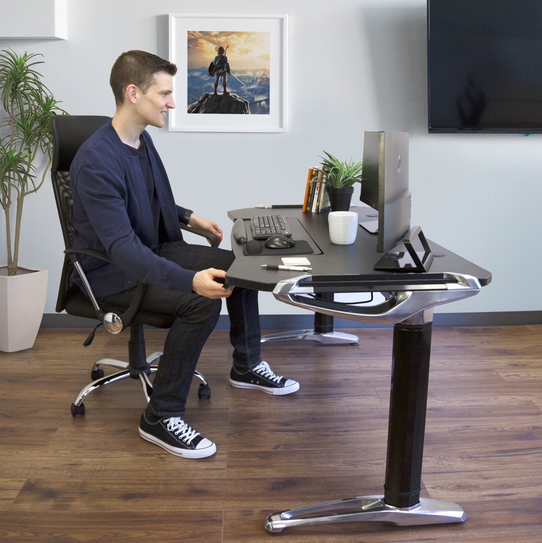 Tranzendesk Standing Desk Black Top//Silver Frame Easily Crank from Sitting to Standing 55 inch Long