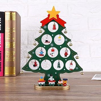 OULII Árbol de Navidad de madera bricolaje dibujos animados ...