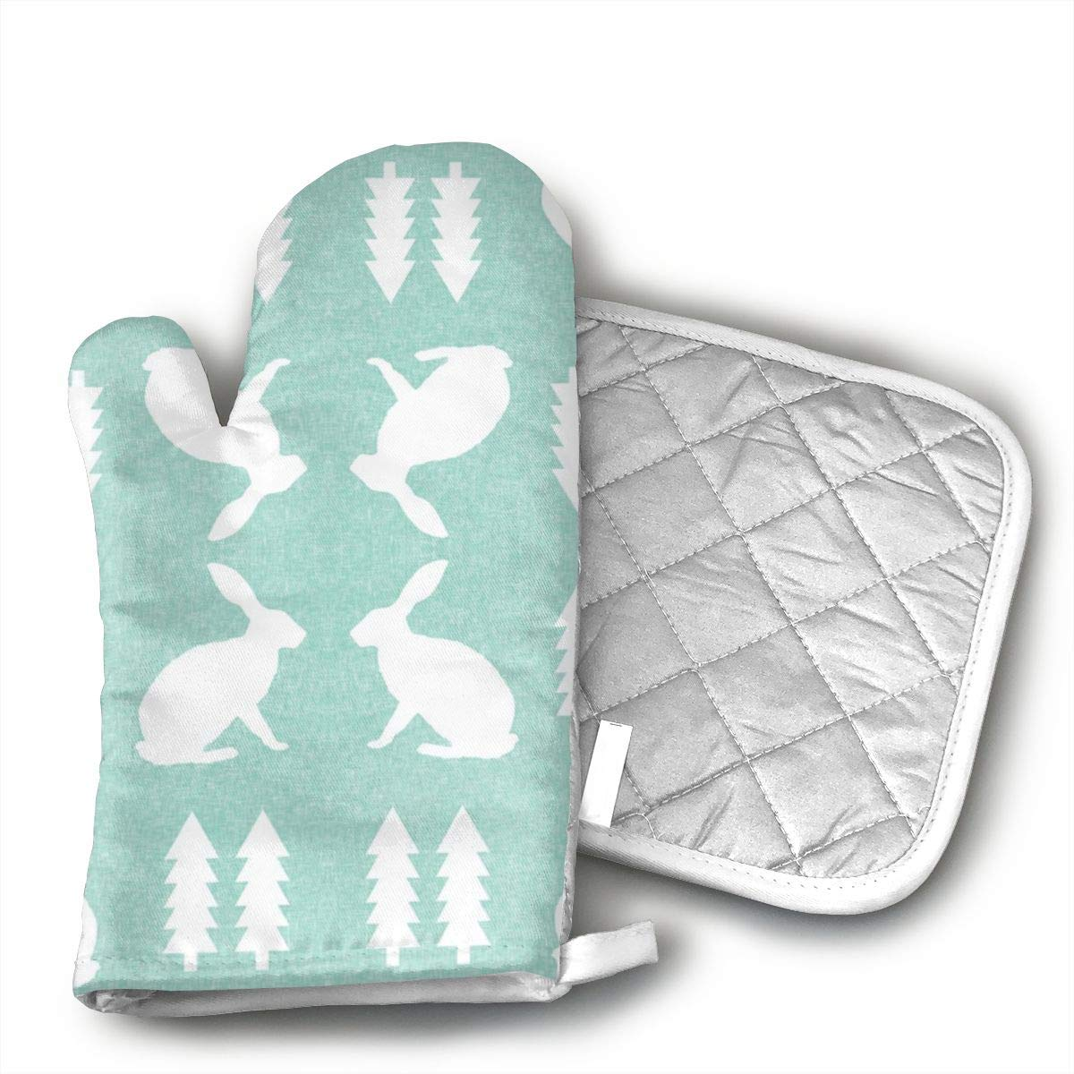Wiqo9 Rabbit Mint Linen Oven Mitts and Pot Holders Kitchen Mitten Cooking Gloves,Cooking, Baking, BBQ.