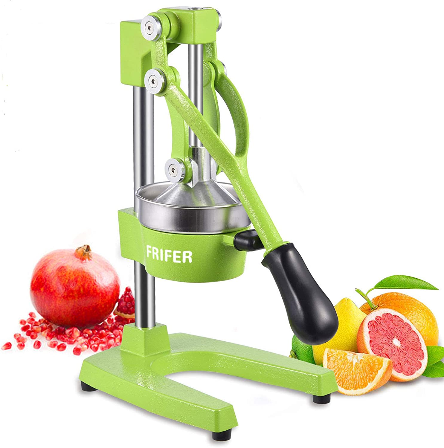 Frifer Manual Citrus Juicer Hand Press,Commercial Orange Lemon Juicer Squeezer Heavy Duty Cast Iron Fuselage and Base,Stainless Steel Funnel&filter screen,Durable and Easy to Clean(Light Green)