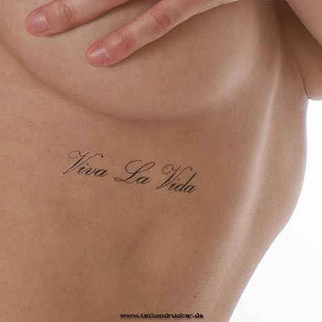 10x Viva La Vida Tatuaje Con Letras En Negro 10 Amazones Hogar