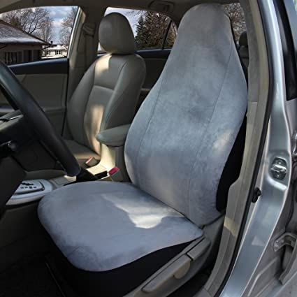 Leader Accessories Super Soft Grey Front Bucket Seat Cover Auto Protector Universal For SUV Trucks