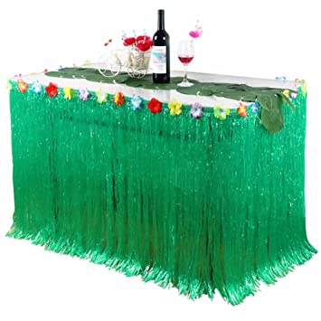Falda de mesa Luau hawaiana Falda de mesa Hawaiian Luau Hibiscus Grass para barbacoa Decoración de