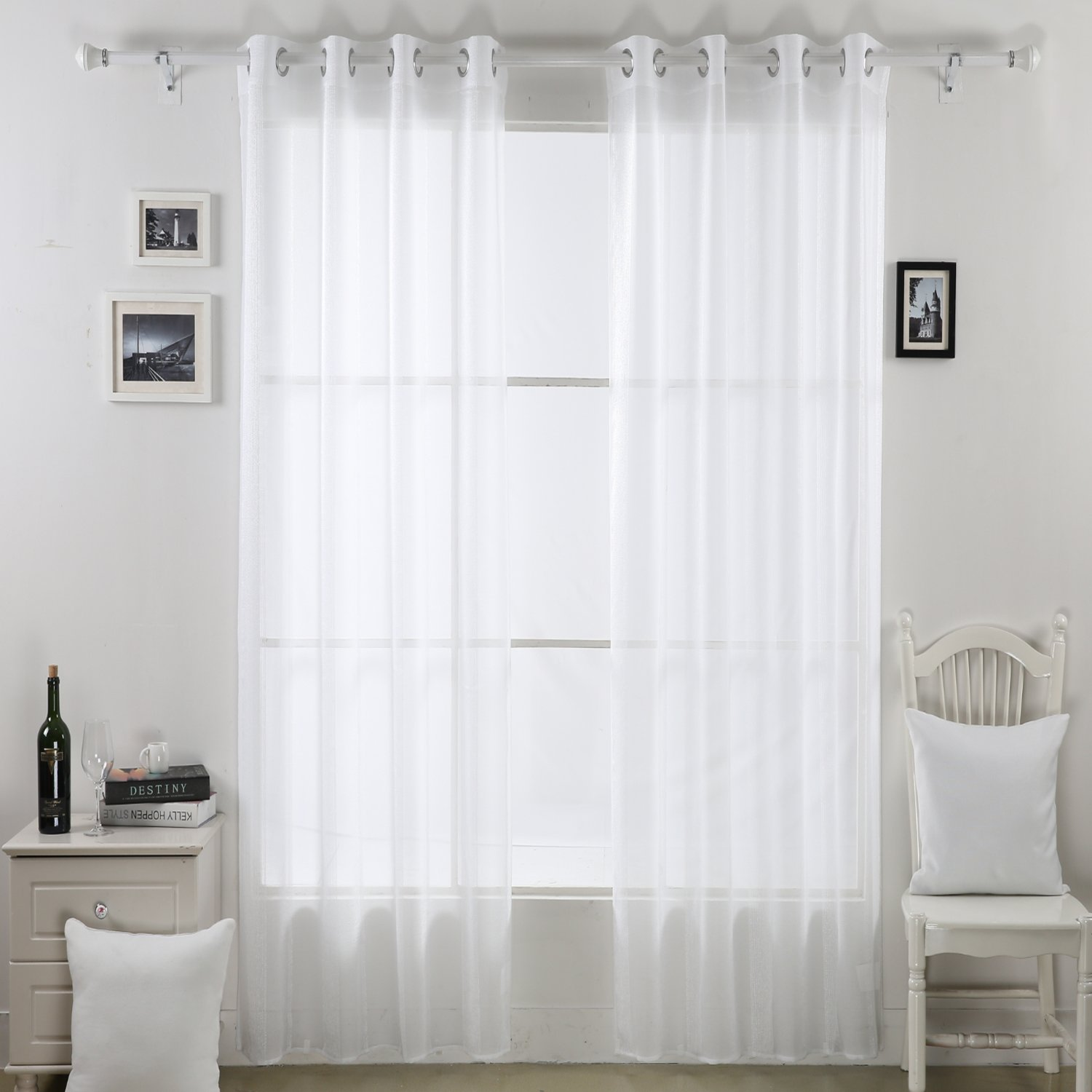 Deconovo Linen Look Vertical Stripe Grommet Window Sheer Curtains for Bedroom