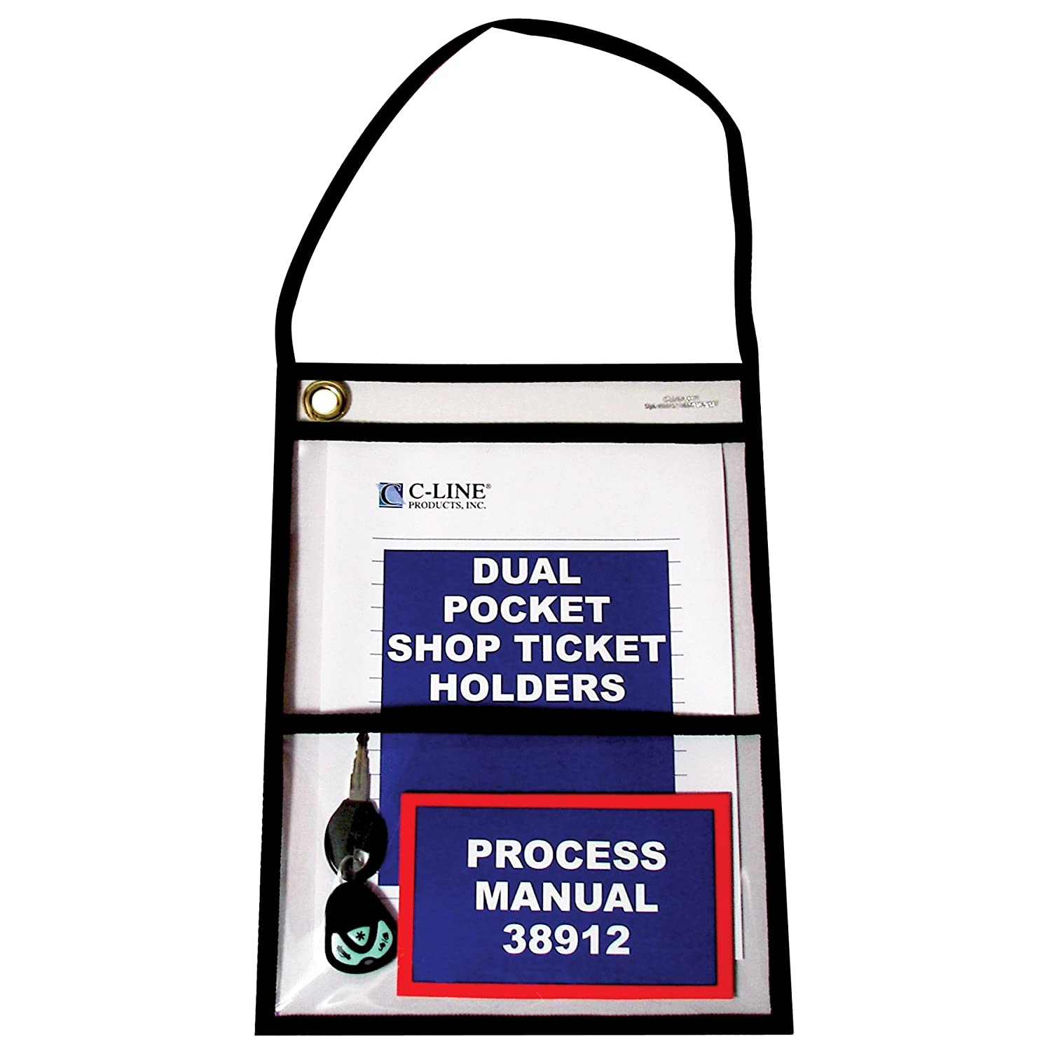 C-Line Stitched Dual Pocket Shop Ticket Holder with Hanging Strap, Both Sides Clear, 9 x 12 Inches, 15 per Box (38912) C-Line Products Inc.