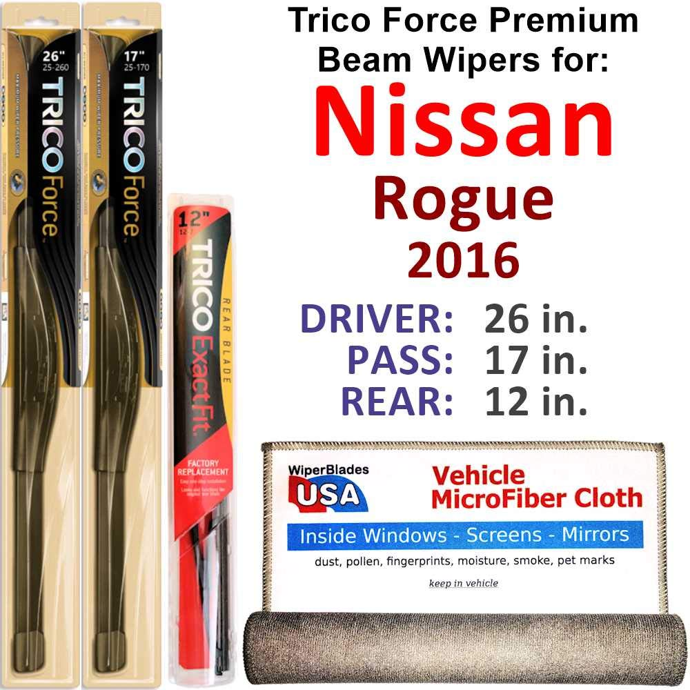 Premium Beam Wiper Blades for 2016 Nissan Rogue Driver/Passenger/Rear Trico Force Beam Blades Wipers Set Bundled with MicroFiber Interior Car Cloth by WiperBladesUSA