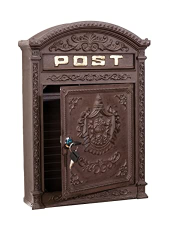 exquisite letter box wall mounted in a vintage style aluminium brown