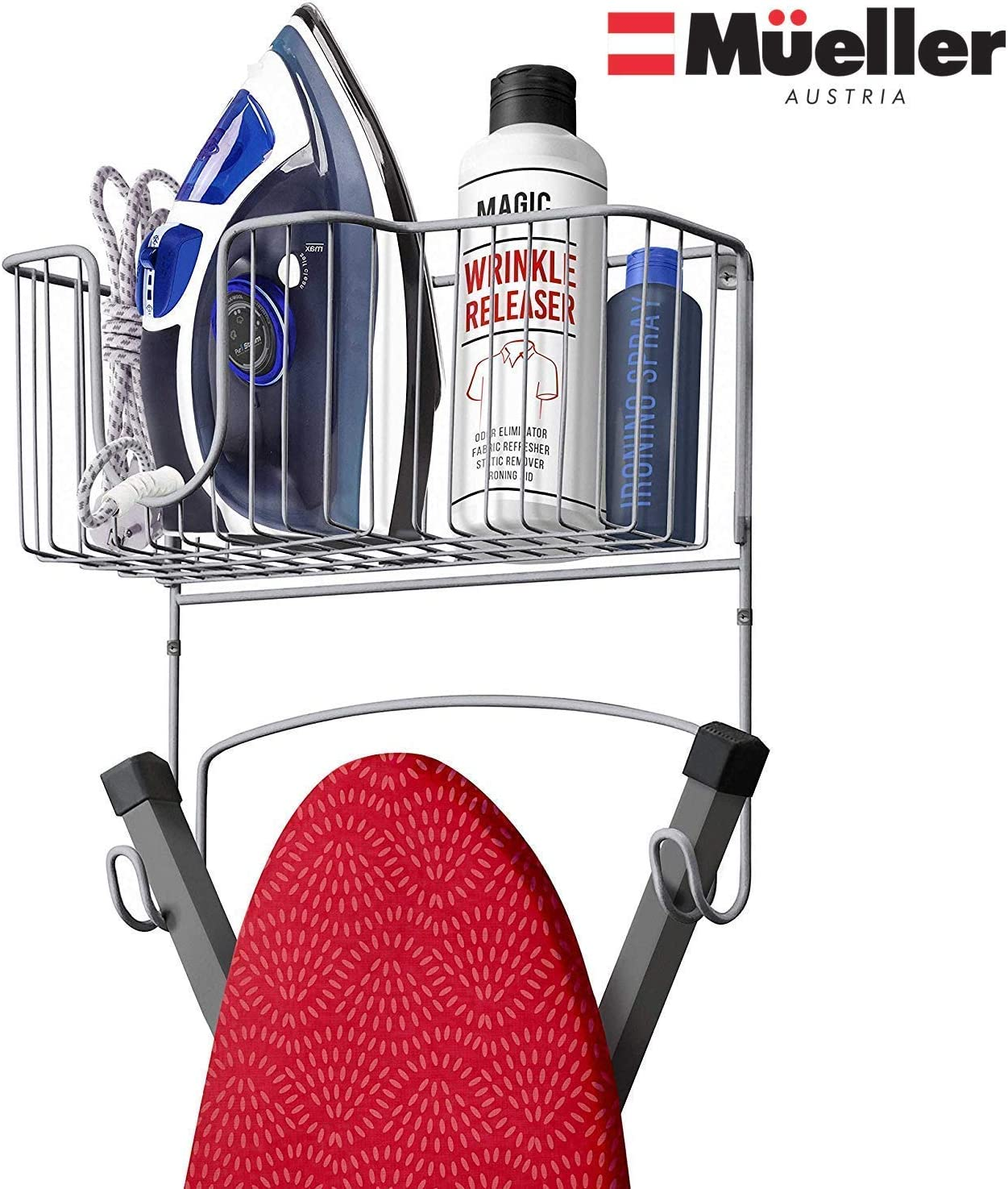 Mueller Ironing Board Hanger Wall Mount with Large Storage Basket and Hooks. Organizer for Laundry Rooms, Heat - Resistant, Holds Iron, Ironing Board and Spray Bottles