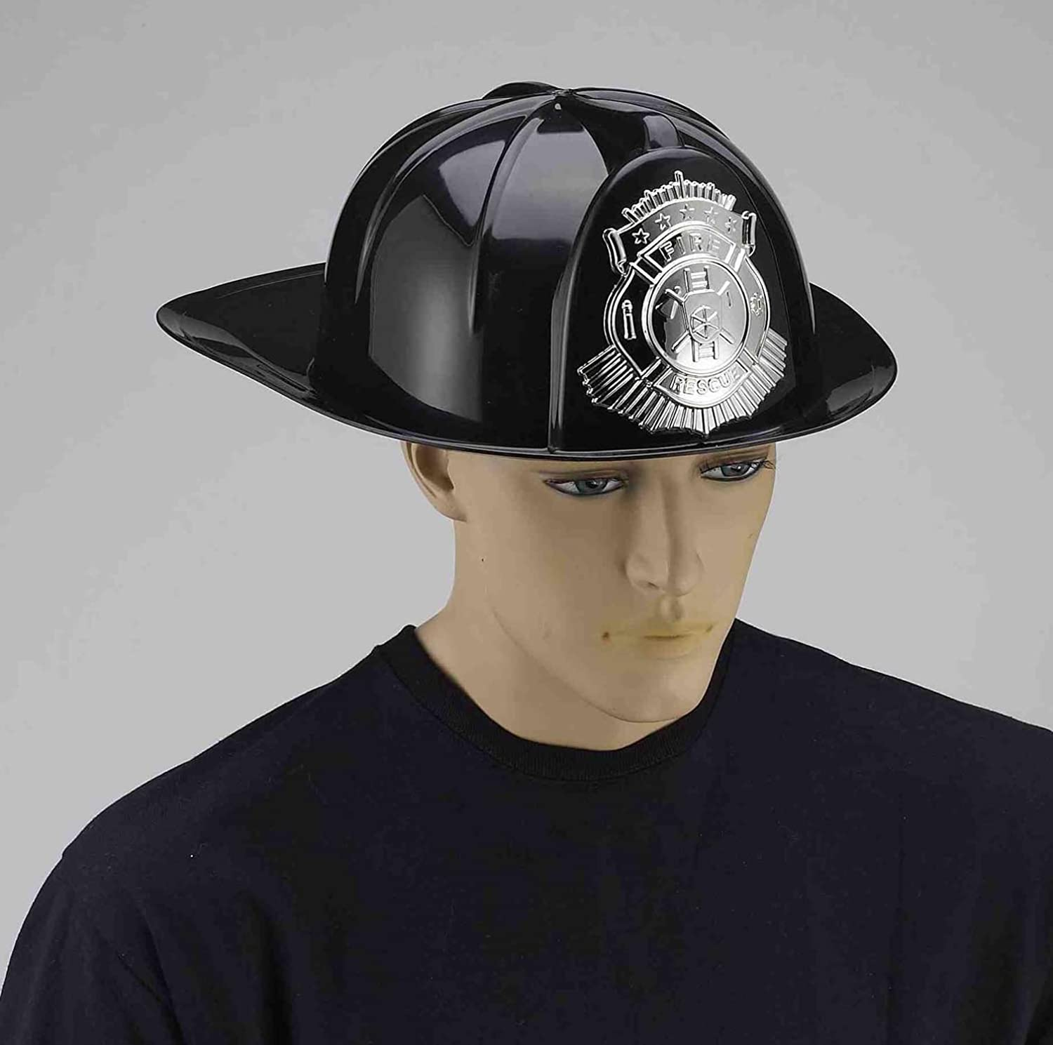 Forum Novelties Men's Deluxe Fireman's Helmet, black, Standard 68164